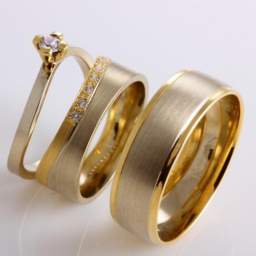 Obrączki 2 kolorowe z pierścionkiem